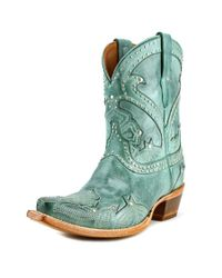 Lucchese   Blue Sitched Petal Short Pointed Toe Leather Western Boot   Lyst