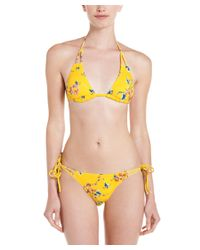 Lisa Curran | Yellow Lisa Curren Amelie Floral Print String Bikini Bottom | Lyst