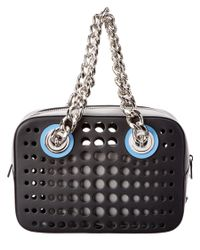 Prada | Black Perforated Calf Leather & Chain Shoulder Bag | Lyst