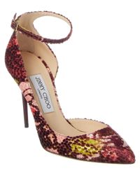 Jimmy Choo | Pink Lucy 100 Floral Lame Fabric Pointy Toe Pump | Lyst