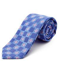 Ike Behar   Blue Textured Square Neat Silk Tie for Men   Lyst
