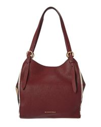 Burberry | Brown Canter Small Leather & House Check Tote | Lyst