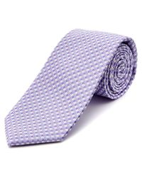 Ike Behar | Purple Micro Lattice Silk Tie for Men | Lyst
