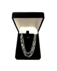 JewelryAffairs - White Sterling Silver Rhodium Plated Figaro Chain Necklace, 3.7mm - Lyst
