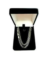 JewelryAffairs - White Sterling Silver Rhodium Plated Flat Mariner Chain Necklace, 3.5mm - Lyst