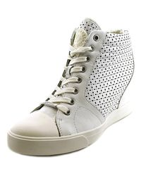 DKNY   Cindy Women Round Toe Leather White Sneakers   Lyst