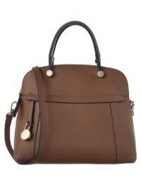 Furla | Brown Piper Medium Leather Dome Bag | Lyst