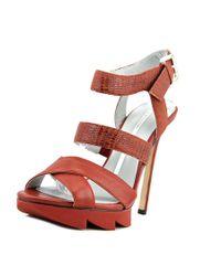 Camilla Skovgaard   Brown Strap Sandal Stiletto W/ Sa Leather Platform Heel   Lyst