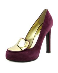 Saint Laurent | Catherine 105 Pump Women Round Toe Suede Purple Heels | Lyst