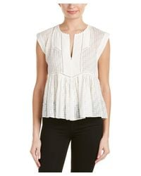 Rebecca Taylor | White Diagonal Embroidered Silk-blend Top | Lyst