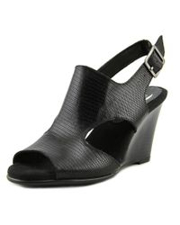 Aerosoles | Black Honey Blossom Open Toe Leather Wedge Sandal | Lyst