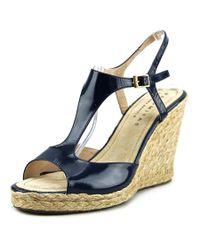 Paloma Barceló   960014 Women Open Toe Patent Leather Blue Wedge Heel   Lyst