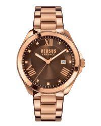 Versus - Metallic Elmont Ss Ip Rose Gold Brown Dial Ss Iprg Bracelet - Lyst