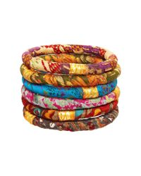Rosena Sammi - Multicolor Set Of 6 Sari Bangles - Lyst