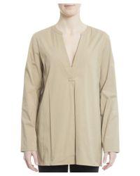 Theory - Brown Women's Beige Cotton Dress - Lyst