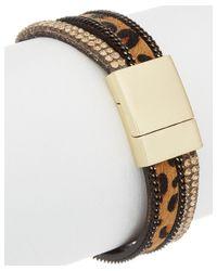 Elise M - Multicolor Crystal & Leather Wrap Bracelet - Lyst