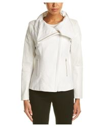 Lamarque | White Zip Front Leather Jacket | Lyst