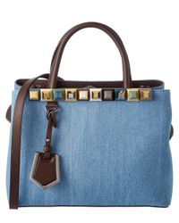 Fendi - Blue Petite 2jours Rainbow Studded Denim & Leather Tote - Lyst