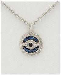 Judith Ripka - Metallic Lucky Silver 0.14 Ct. Tw. Sapphire Evil Eye Necklace - Lyst