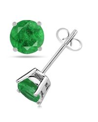 Tia Collections - 5mm Round Shape Emerald Earrings In 14k White Gold - Lyst