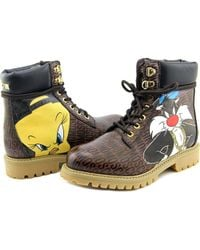 Moschino - Looney Tunes Work Boots Women Round Toe Leather Brown Work Boot - Lyst