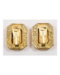 Kenneth Jay Lane - Metallic 1 Gold-tone Emerald Cut Rhinestone Rectangular Clip On Earrings - Lyst