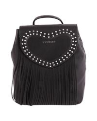 Twin Set - Women's Black Leather Backpack - Lyst