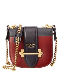 Prada - Brown Pionniere Saffiano & Calf Leather Chain Shoulder Bag - Lyst