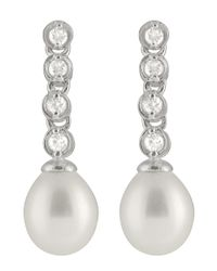 Splendid - Metallic Bezel Cz Pearl Earrings - Lyst