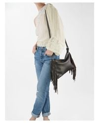 Mofe - Gray Kalon Convertible Leather Fringe Crossbody, Clutch And Wristlet With Adjustable Shoulder Strap - Lyst