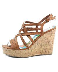 Madden Girl | Brown Eagerr Open Toe Synthetic Wedge Heel | Lyst