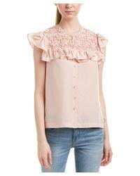 Rebecca Taylor - Pink Lace Yoke Silk Top - Lyst