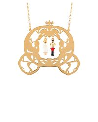 Les Nereides - Metallic Once Upon A Time Cinderella And The Prince With Carriage Long Necklace - Lyst