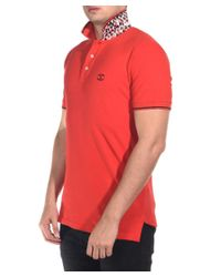 Just Cavalli - Men's Classic Fit Piquet Polo Undercollar Feature Red for Men - Lyst