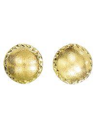 JewelryAffairs - 14k Yellow Gold Satin With Diamond Cut Edges Stud Earrings, 8mm - Lyst
