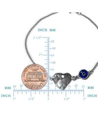 """JewelryAffairs - Metallic Hammered Heart Double Sided Evil Eye Adjustable Bracelet Sterling Silver, 7"""" To 8.5 - Lyst"""