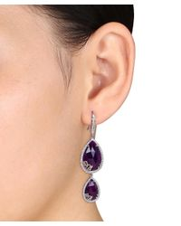 Julianna B - Metallic 4/5 Ct Diamond Tw And Purple Chalcedony Charm Earrings - Lyst