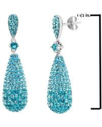 Amanda Rose Collection - Metallic Sterling Silver Tear Drop Earrings With Teal Swarovski Crystals - Lyst