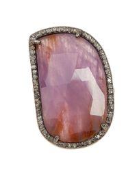 Adornia - Pink Sapphire And Champagne Diamond Sasha Ring - Lyst
