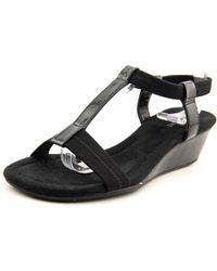 Alfani - Black Voyage Open Toe Synthetic Wedge Sandal - Lyst