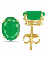 Tia Collections - 7x5 Oval Shape Emerald Earrings In 14k Yellow Gold - Lyst