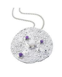 Jewelista - White Sterling Silver Gemstone Moon Pendant - Lyst