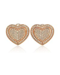 Suzy Levian - Metallic Mother's Day 'loving Heart' Cubic Zirconia Rosed Sterling Silver Earrings - Lyst