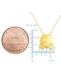 """JewelryAffairs - 14k Yellow Gold Happy Face Flying Emoji Extentable Necklace, 16"""" To 18 - Lyst"""