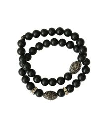 Blue Candy Jewelry - Matted Black Onyx Pave Hematite Bracelet - Lyst