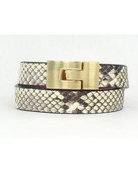 Leighelena - Double Wrap Natural Python Bracelet - Lyst