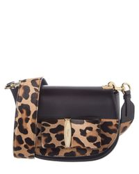 Ferragamo - Black Anna Vara Lux Leopard Haircalf & Leather Shoulder Bag - Lyst