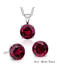 Suzy Levian - Red 18k Goldplated Sterling Silver 3ct Ruby Topaz July Birthstone Set Made With Swarovski Gemstones - Lyst
