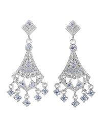 JewelryAffairs - White Sterling Silver And Cubic Zirconia Chandelier Drop Earrings - Lyst