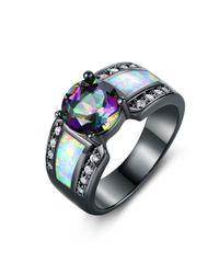 Peermont - Metallic Black Rhodium Plated 2cttw Round-cut Topaz & White Fire Opal Engagement Ring - Lyst